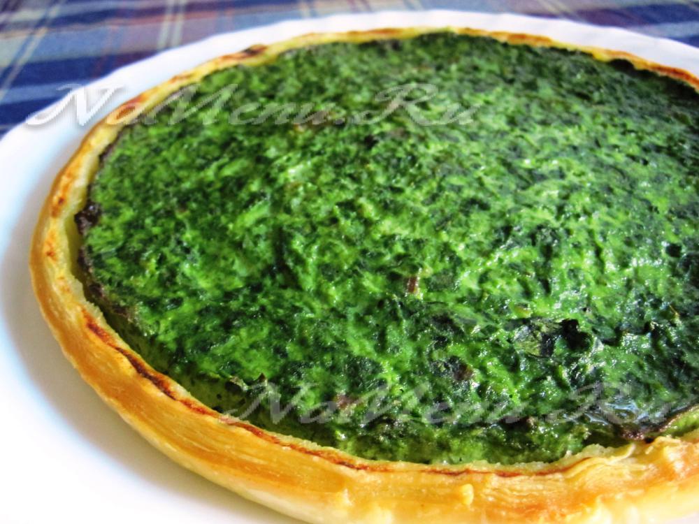открытый пирог со шпинатом